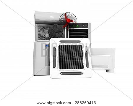 Set Of Cooling Equipment Air Conditioner Floor Fan Floor Air Conditioner 3d Render On White Backgrou