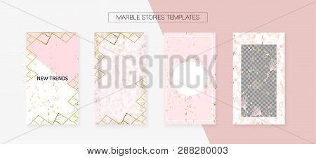Stories Template Cool Vector Layout. Social Media Blogger Covers Set. Invitation Mobile Design Pack.