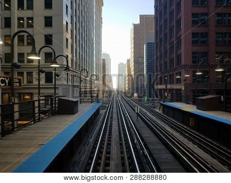 Chicago, Il December 10, 2018, Cta Chicago Transit Authority Elevated Train Tracks In The Downtown L