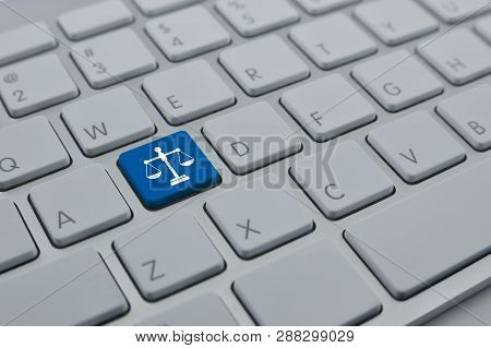 Law Flat Icon On Modern Computer Keyboard Button, Business Legal Service Online Concept