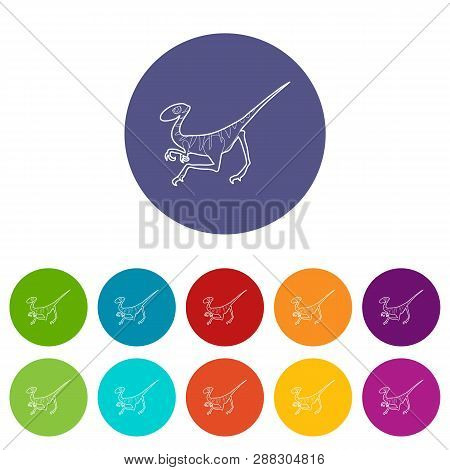 Velociraptor Icons Color Set Vector For Any Web Design On White Background