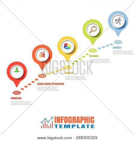 Business Road Map Timeline Infographic Pointers Design For Abstract Background Template Milestone El