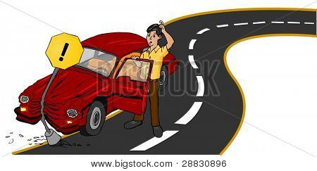 Accident Car on road