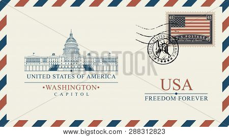 Vector Postcard Or Envelope With Famous Washington Capitol Building And Inscriptions. Postcard With