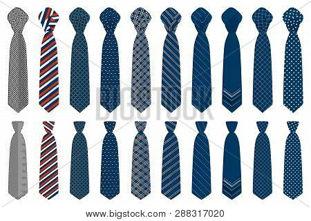 Illustration On Theme Big Set Ties Different Types, Neckties Various Size. Tie Pattern Consisting Of