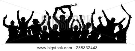 Crowd Of Military People With Weapons. Armed Terrorists. Military Silhouette Of Soldiers. Vector Ill