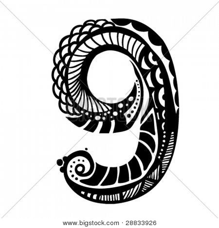 number ornament - 9 -