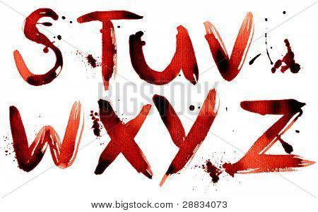 Grunge alphabet S-Z