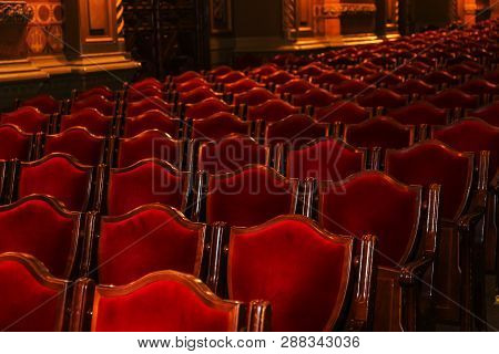 Interior Theater Art. Audience With Empty Soft Armchairs Of Opera And Ballet Theater Is Waiting For
