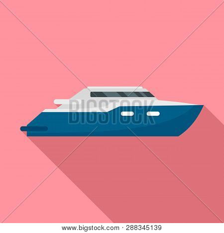 Luxury Yacht Icon. Flat Illustration Of Luxury Yacht Icon For Web Design