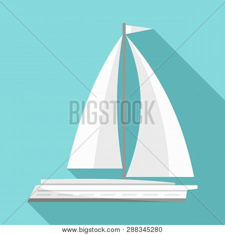 White Yacht Icon. Flat Illustration Of White Yacht Icon For Web Design