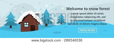 Welcome To Snow Forest Banner Horizontal Concept. Flat Illustration Of Welcome To Snow Forest Banner