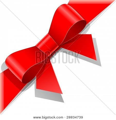 red bow with ribbon vector illustration isolated on white background EPS10. Transparent objects used for shadows and lights drawing