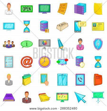 Workshop Icons Set. Cartoon Style Of 36 Workshop Icons For Web Isolated On White Background