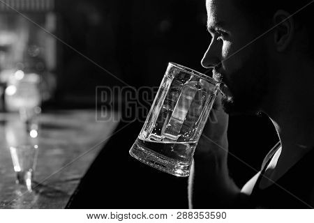 A Drink Or Two After Work. Alcohol Addict With Beer Mug. Man Drinker In Pub. Handsome Man Drink Beer