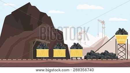 Coal Mine Industry And Transportation Vector Illustration With Piles Of Black Mineral Resource In Mi