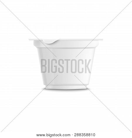 Empty Clear White Plastic Trapezoidal Yogurt 3d Realistic Container With Closed Lid And Grooved.