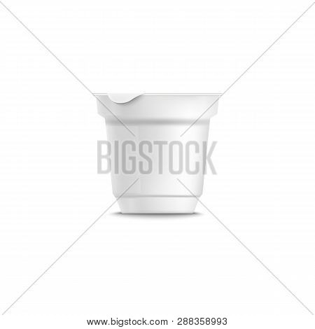 Yogurt Realistic Plastic Packing Template With Grooved.