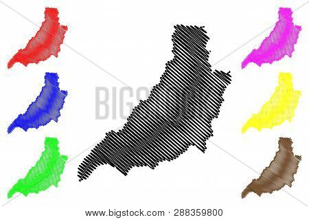 Phrae Province (kingdom Of Thailand, Siam, Provinces Of Thailand) Map Vector Illustration, Scribble