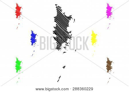 Phuket Province (kingdom Of Thailand, Siam, Provinces Of Thailand) Map Vector Illustration, Scribble