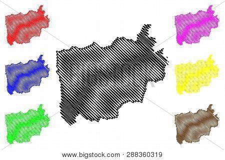 Ratchaburi Province (kingdom Of Thailand, Siam, Provinces Of Thailand) Map Vector Illustration, Scri