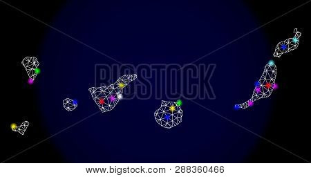 Mesh Vector Map Of Canary Islands With Glare Effect On A Dark Background. Abstract Lines, Triangles,