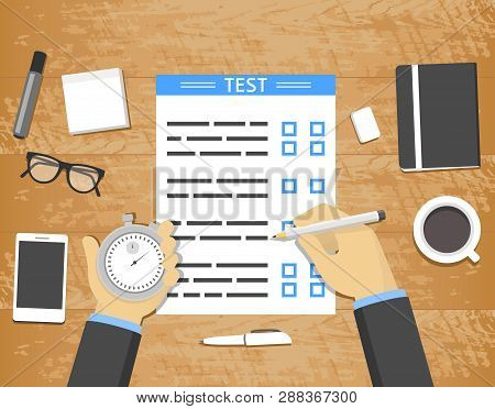 Self-assessment Concept - Hands Holding Stopwatch And Pencil Over Test Blank On Wooden Desk With Off