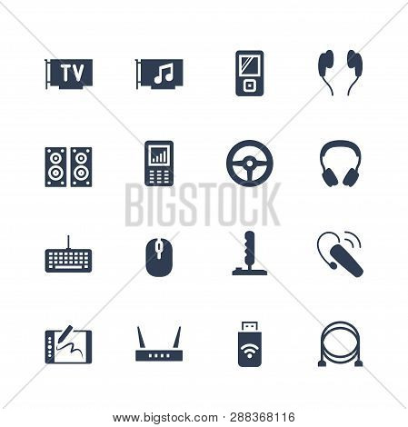 Electronics And Gadgets Icon Set: Tv Tuner, Audio Card, Mp4 Player, Headphones, Audio System, Record