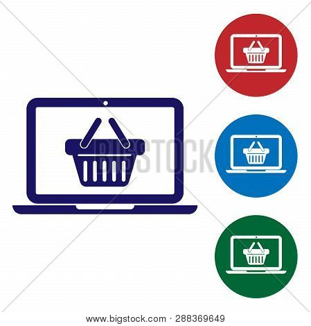 Blue Shopping Basket On Screen Laptop Icon Isolated On White Background. Concept E-commerce, E-busin