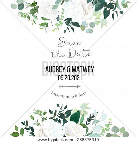 Floral Vector Banner Frame With White Rose, Hydrangea, Eucalyptus, Emerald And Mint Greenery, Green