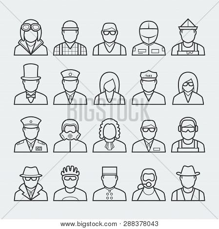 People Professions And Occupations Icon Set In Thin Line Style 3