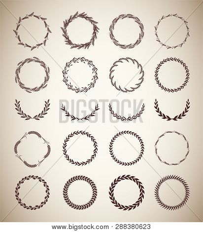 Collection Of Different Vintage Silhouette Circular Laurel Foliate, Wheat And Oak Wreaths Depicting