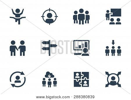 Vector Icon Set Of Corporate Management And Leadership Training