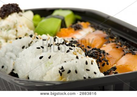 Sushi Take-Away Meal Isolated On White Background