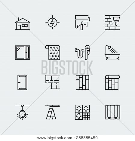 Vector Icon Set Of Home Decorating, Overhaul And Repair In Thin Line Style