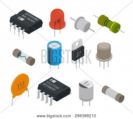 Electronic Isolated Components Icons. Isometric Vector Illustration