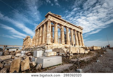 Parthenon On The Acropolis Of Athens, Greece. Ancient Greek Parthenon Is A Top Landmark Of Athens. P