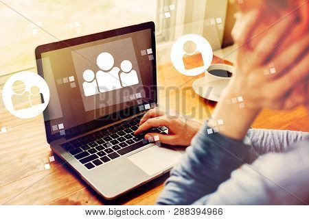 Social Connections With Man Using A Laptop Computer