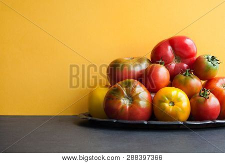 Beautiful Organic Tomatoes On A Tray. Variety Tomato Vegetables, Different Size Red Yellow Pink Gree