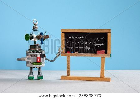 Artificial Intelligence And Trigonometry Lesson In College. Robot Teacher Explains Theory Inverse Tr