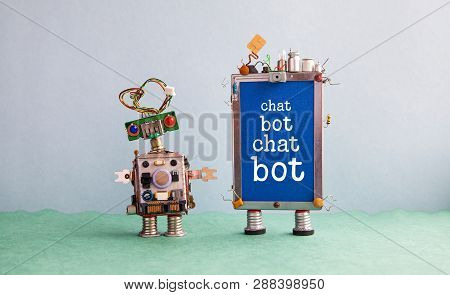 Chatbot Artificial Intelligence Poster. Creative Design Robot And Smartphone Gadget With Message Cha