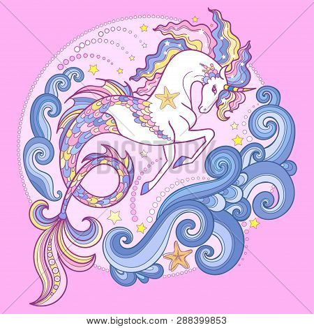 Beautiful White Sea Unicorn Among The Waves. On A Pink Background. Hippocampus. For Design Of Prints