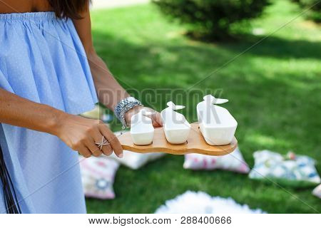 Girl With A Set Of White Empty Sauceboats On A Wooden Tray Serves A Picnic.
