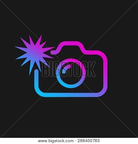 Web Icon Of Modern Line Art Camera. Camera With Flash. Digital Application Pictogram. Vector Illustr