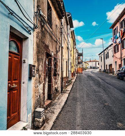 Narrow Alley In Villanova Monteleone. Sardinia, Italy