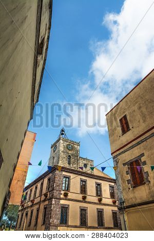 Villanova Monteleone, Italy - October 15, 2014: Santa Croce Church On A Sunny Day
