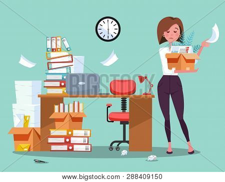 Dismissing From Employment. Disapointed Young Business Woman Employee Leaves Office With Box Of Thin