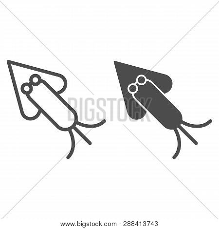 Squid Line And Glyph Icon. Octopus Vector Illustration Isolated On White. Cuttlefish Outline Style D