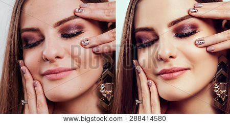 Before and after retouching in editor. Side by side beauty portraits of woman with makeup and manicure edited poster