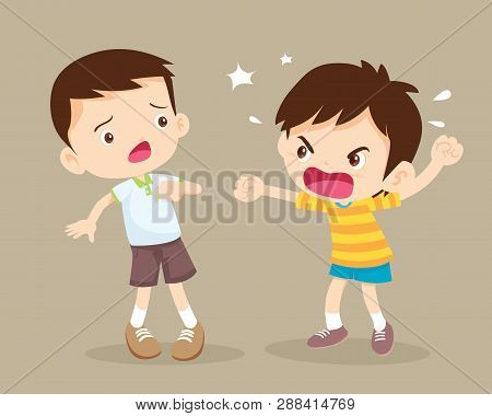 Angry Children.quarreling Kids. Angry Boy Shouting At Friend.raging Kids.children Shouting To Each O